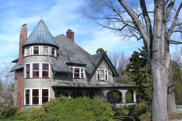 dům, věžička, stromy