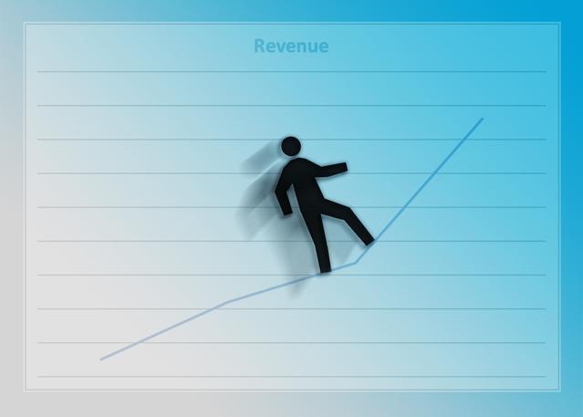 strmý růst zisku s panáčkem na grafu